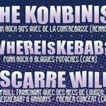 Concert - The Kombinis + Whe is Kebab + Escarre Wild